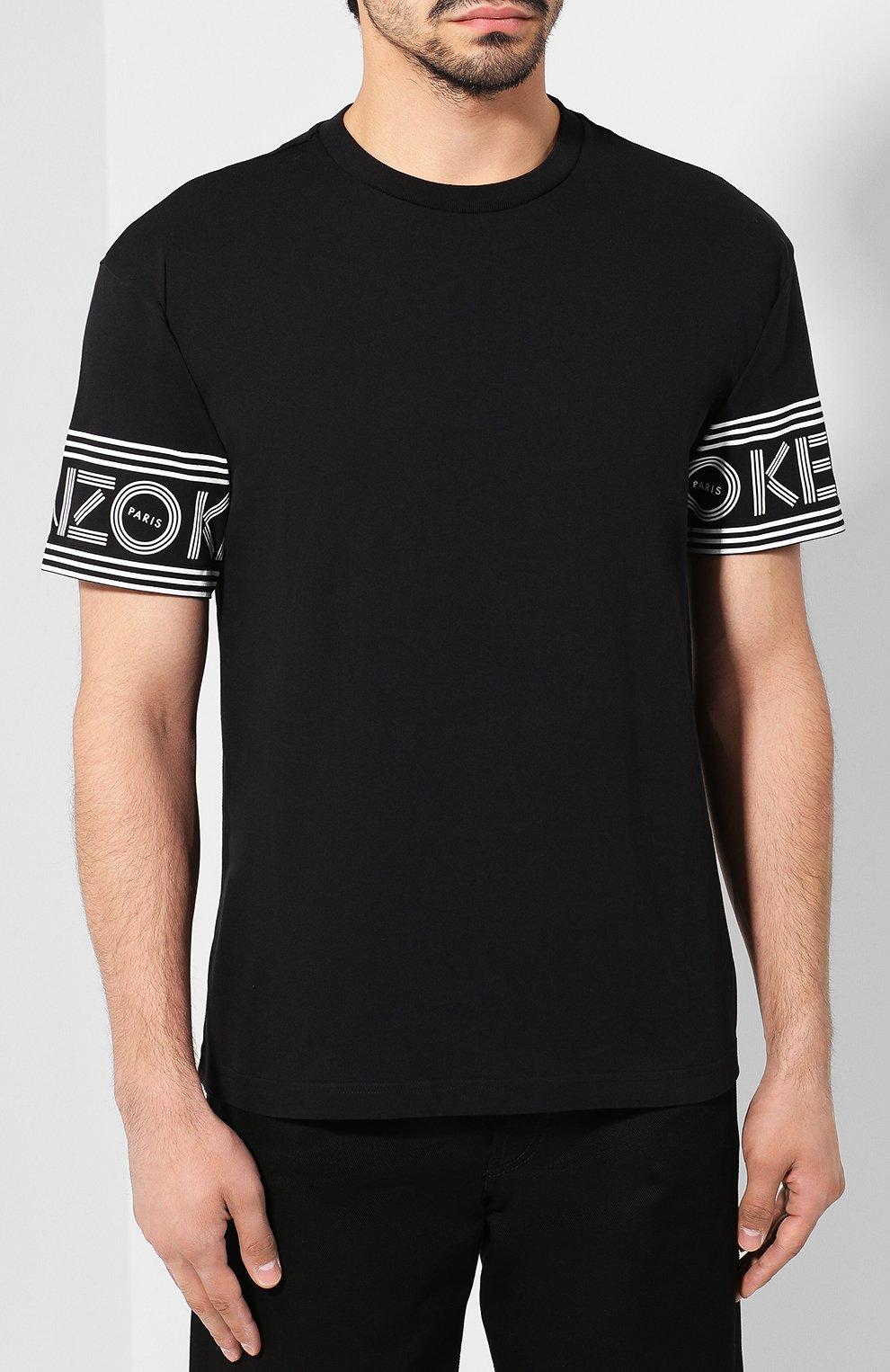 Мужская хлопковая футболка KENZO черного цвета, арт. F005TS0434BD | Фото 3