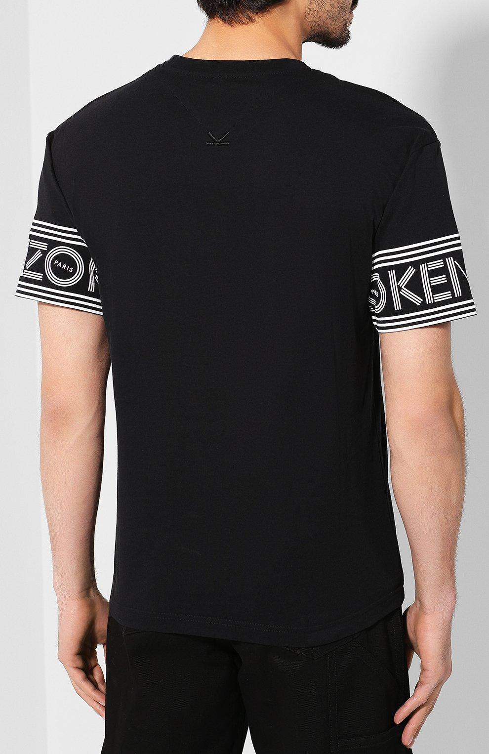 Мужская хлопковая футболка KENZO черного цвета, арт. F005TS0434BD | Фото 4