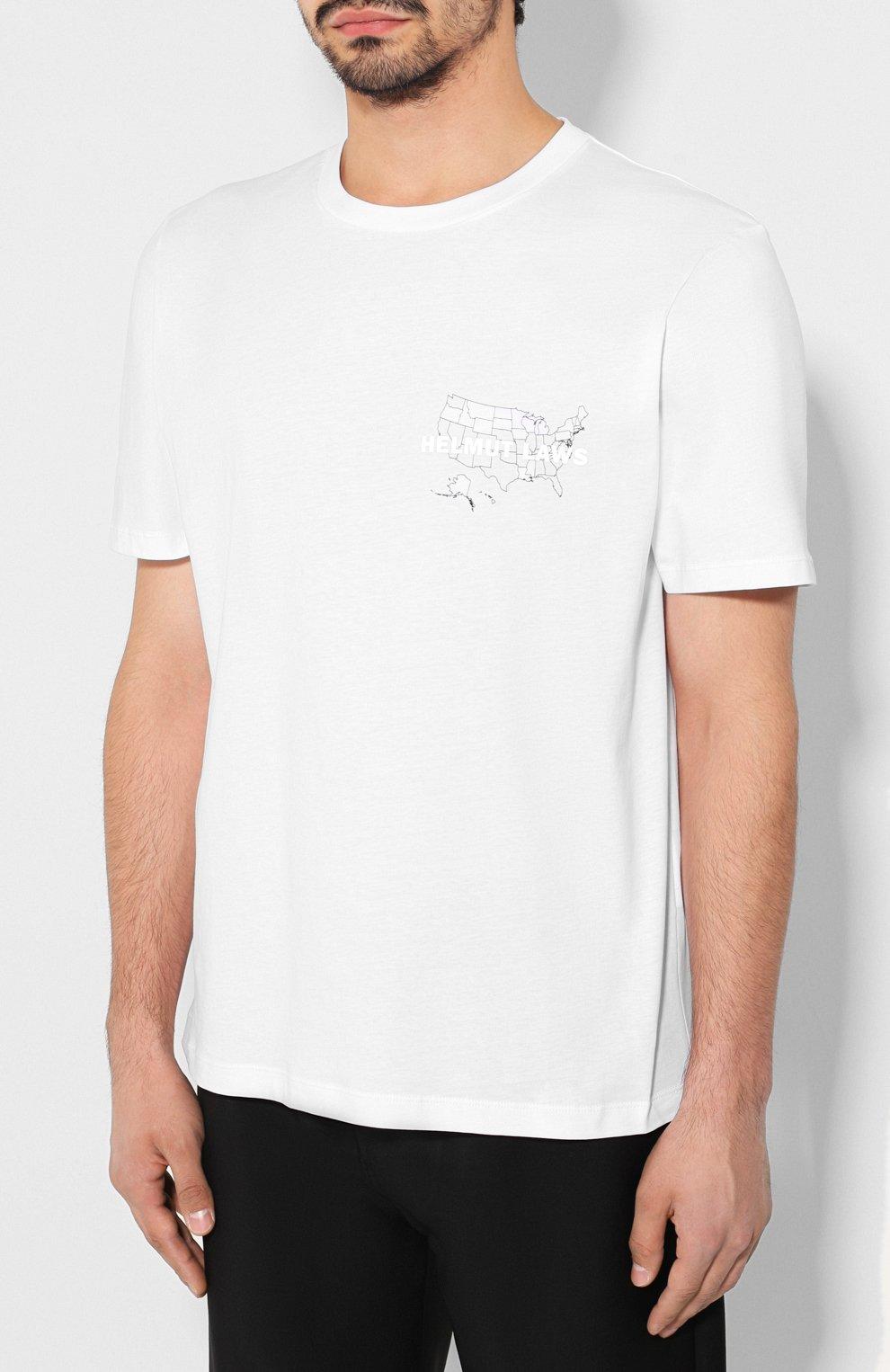 Мужская хлопковая футболка HELMUT LANG белого цвета, арт. J04HM517   Фото 3