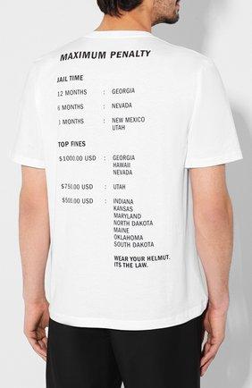 Мужская хлопковая футболка HELMUT LANG белого цвета, арт. J04HM517   Фото 4
