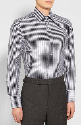 Мужская хлопковая сорочка TOM FORD черно-белого цвета, арт. 6FT642/94S1JE | Фото 3
