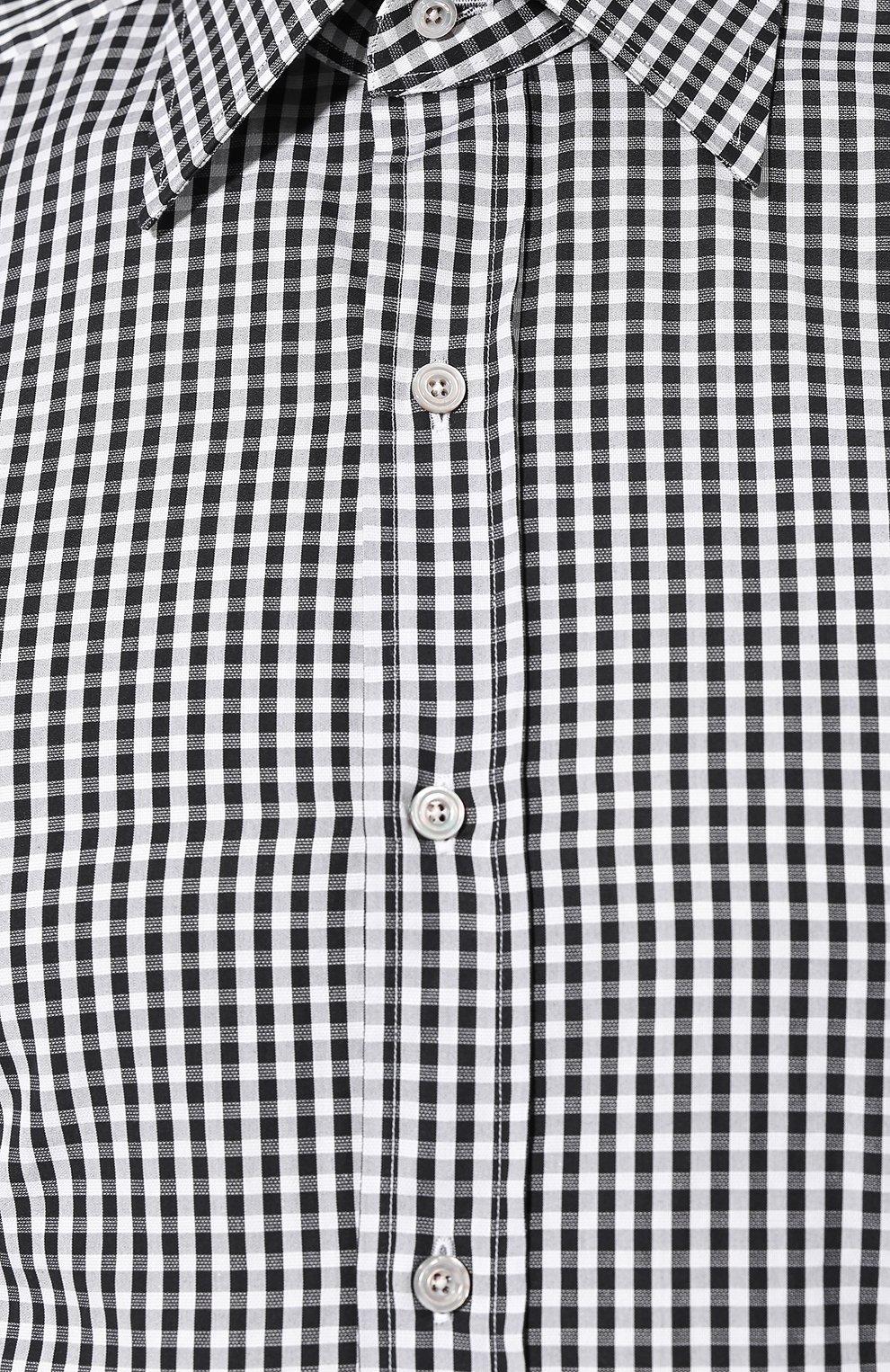 Мужская хлопковая сорочка TOM FORD черно-белого цвета, арт. 6FT642/94S1JE | Фото 5
