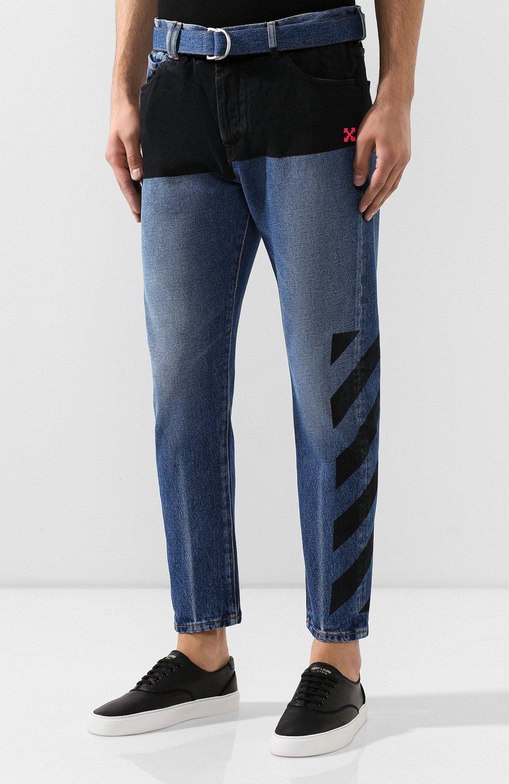 Мужские джинсы OFF-WHITE темно-синего цвета, арт. 0MYA005E193860453228 | Фото 3