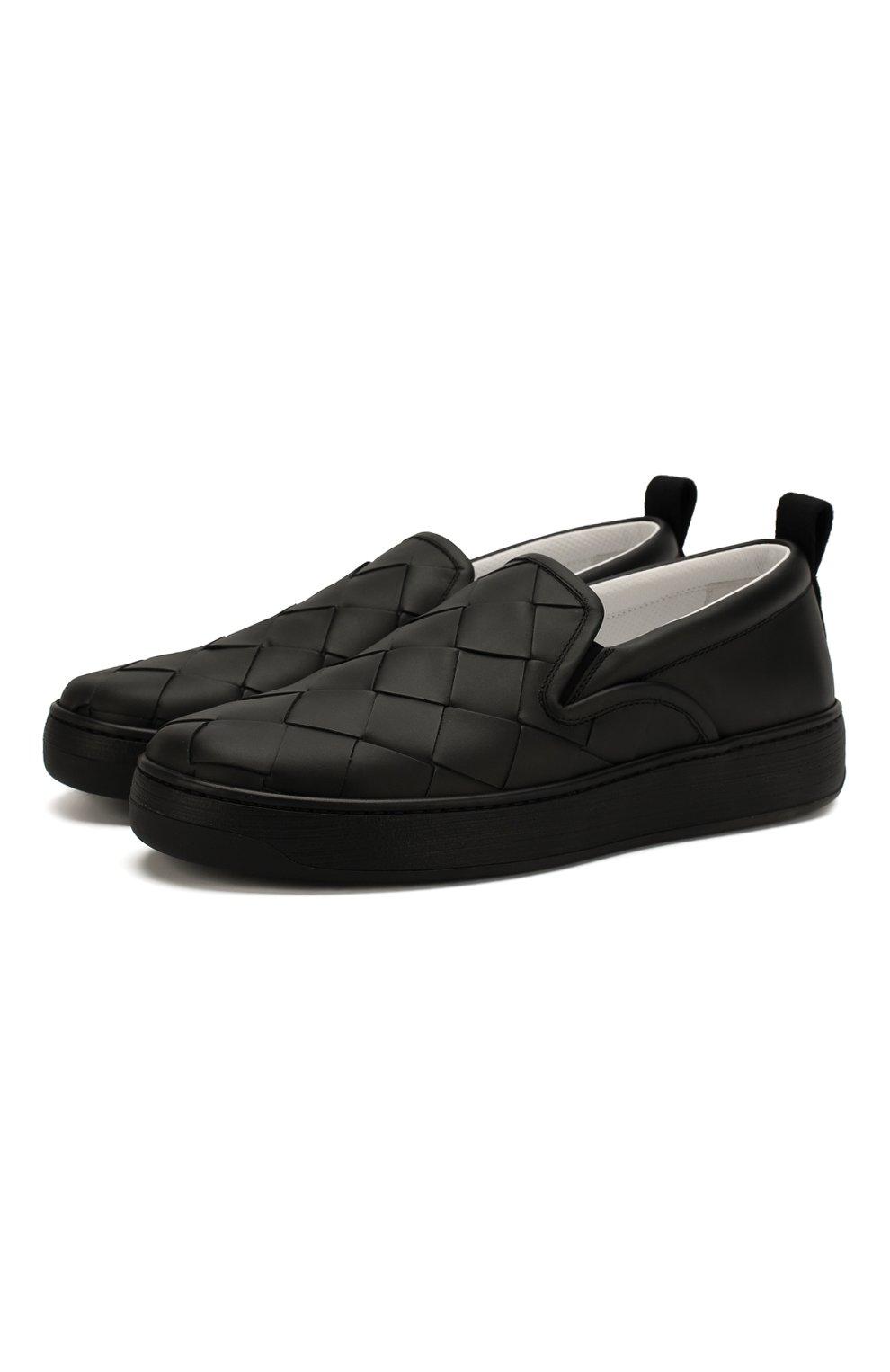 Мужские кожаные слипоны BOTTEGA VENETA черного цвета, арт. 578303/VBPG1 | Фото 1