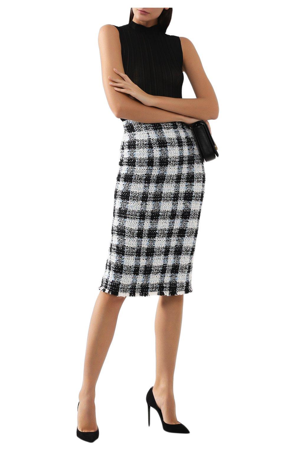 Женская юбка ALEXANDER MCQUEEN синего цвета, арт. 585990/QEAAR | Фото 2