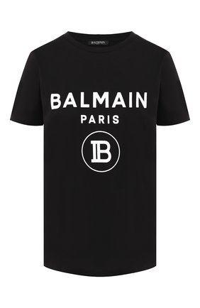 Женская хлопковая футболка BALMAIN черного цвета, арт. SF11361/I193 | Фото 1