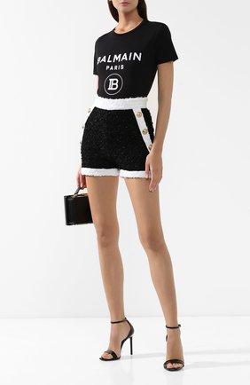 Женская хлопковая футболка BALMAIN черного цвета, арт. SF11361/I193 | Фото 2