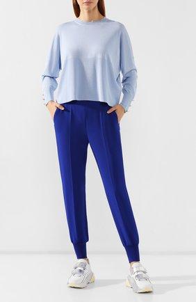 Женская пуловер из смеси шерсти и шелка STELLA MCCARTNEY голубого цвета, арт. 564715/S2087 | Фото 2