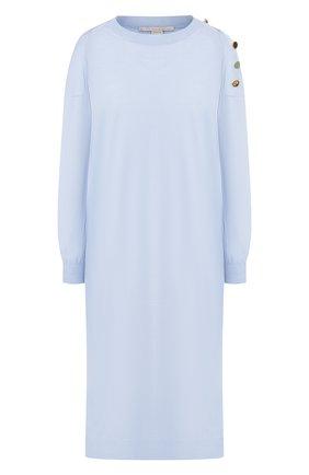 Женское платье из смеси шерсти и шелка STELLA MCCARTNEY голубого цвета, арт. 269330/S2087   Фото 1