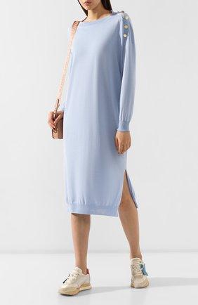 Женское платье из смеси шерсти и шелка STELLA MCCARTNEY голубого цвета, арт. 269330/S2087   Фото 2