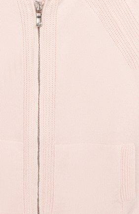 Детский кашемировый кардиган на молнии с капюшоном LORO PIANA светло-розового цвета, арт. FAI0796   Фото 3