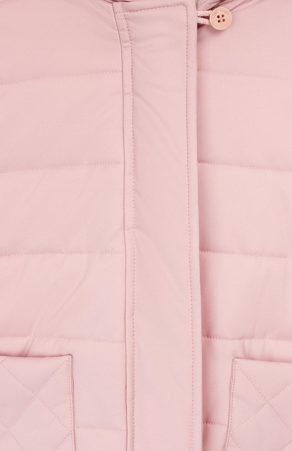 Детского куртка с капюшоном LORO PIANA розового цвета, арт. FAG3867   Фото 3