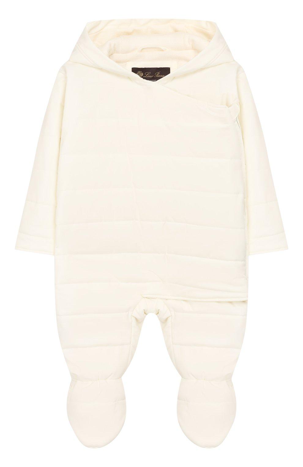 Детский комбинезон с капюшоном LORO PIANA белого цвета, арт. FAG3738 | Фото 1