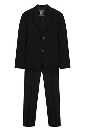 Детский костюм из пиджака и брюк DAL LAGO черного цвета, арт. N010/1011/4-6 | Фото 1