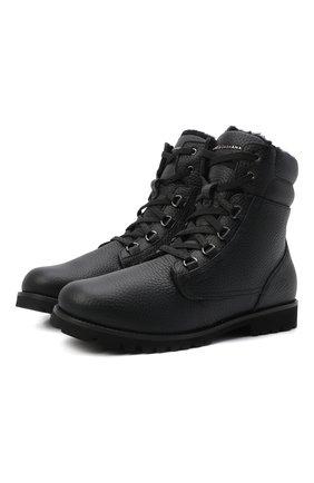 Детские кожаные ботинки с меховой отделкой DOLCE & GABBANA черного цвета, арт. DA0731/AA163/37-39 | Фото 1