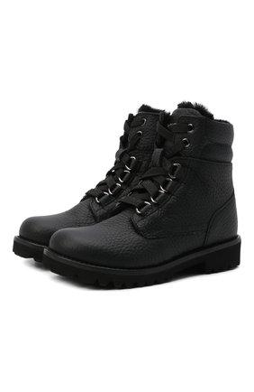 Детские кожаные ботинки с меховой отделкой DOLCE & GABBANA черного цвета, арт. DA0731/AA163/24-28 | Фото 1