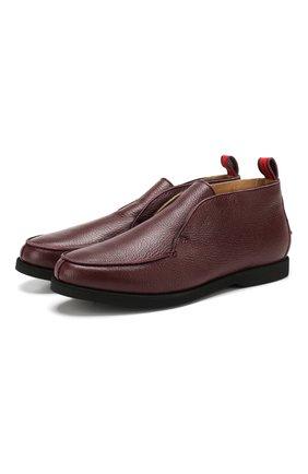 Мужские кожаные ботинки KITON бордового цвета, арт. USSFLYN00126/LINING M0NT0NE | Фото 1 (Мужское Кросс-КТ: Ботинки-обувь, зимние ботинки; Подошва: Плоская; Материал внутренний: Натуральная кожа)