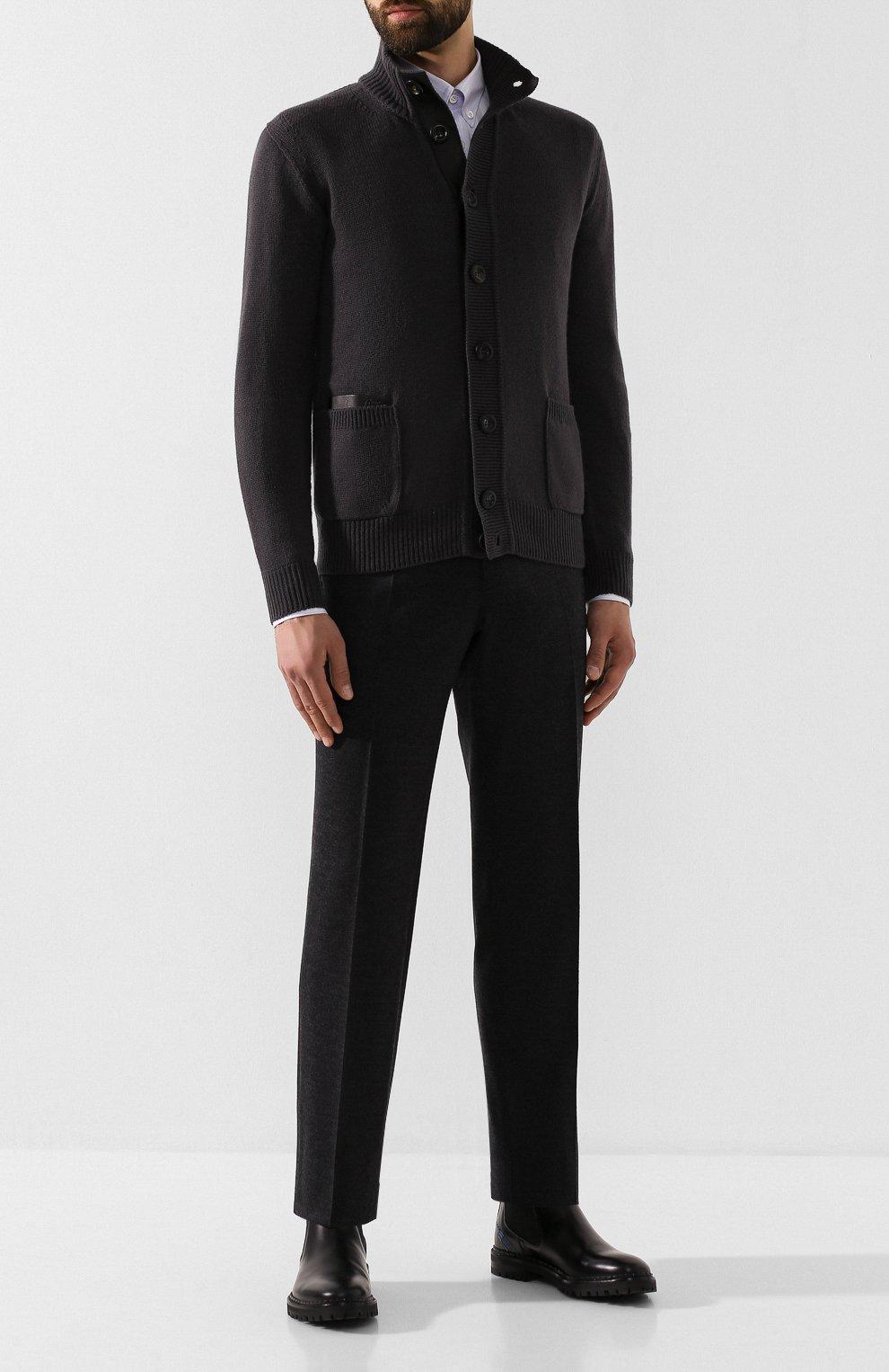 Мужские шерстяные брюки BRIONI темно-серого цвета, арт. UJBV0L/08631 | Фото 2