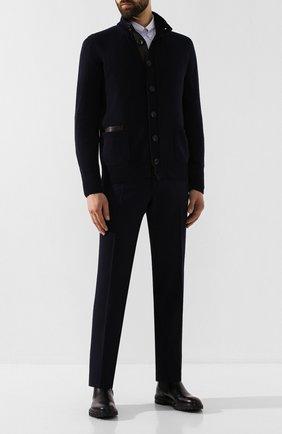 Мужской шерстяные брюки BRIONI темно-синего цвета, арт. UJBV0L/08631 | Фото 2