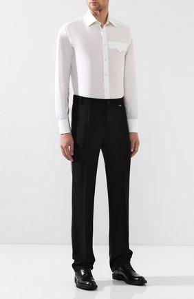 Мужская хлопковая сорочка BOTTEGA VENETA белого цвета, арт. 582830/VF3X0 | Фото 2