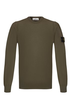 Мужской шерстяной джемпер STONE ISLAND хаки цвета, арт. 7115524C4 | Фото 1