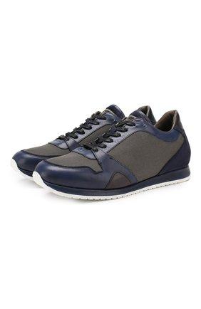 Мужские комбинированные кроссовки BRIONI темно-синего цвета, арт. QHGL0L/08749 | Фото 1