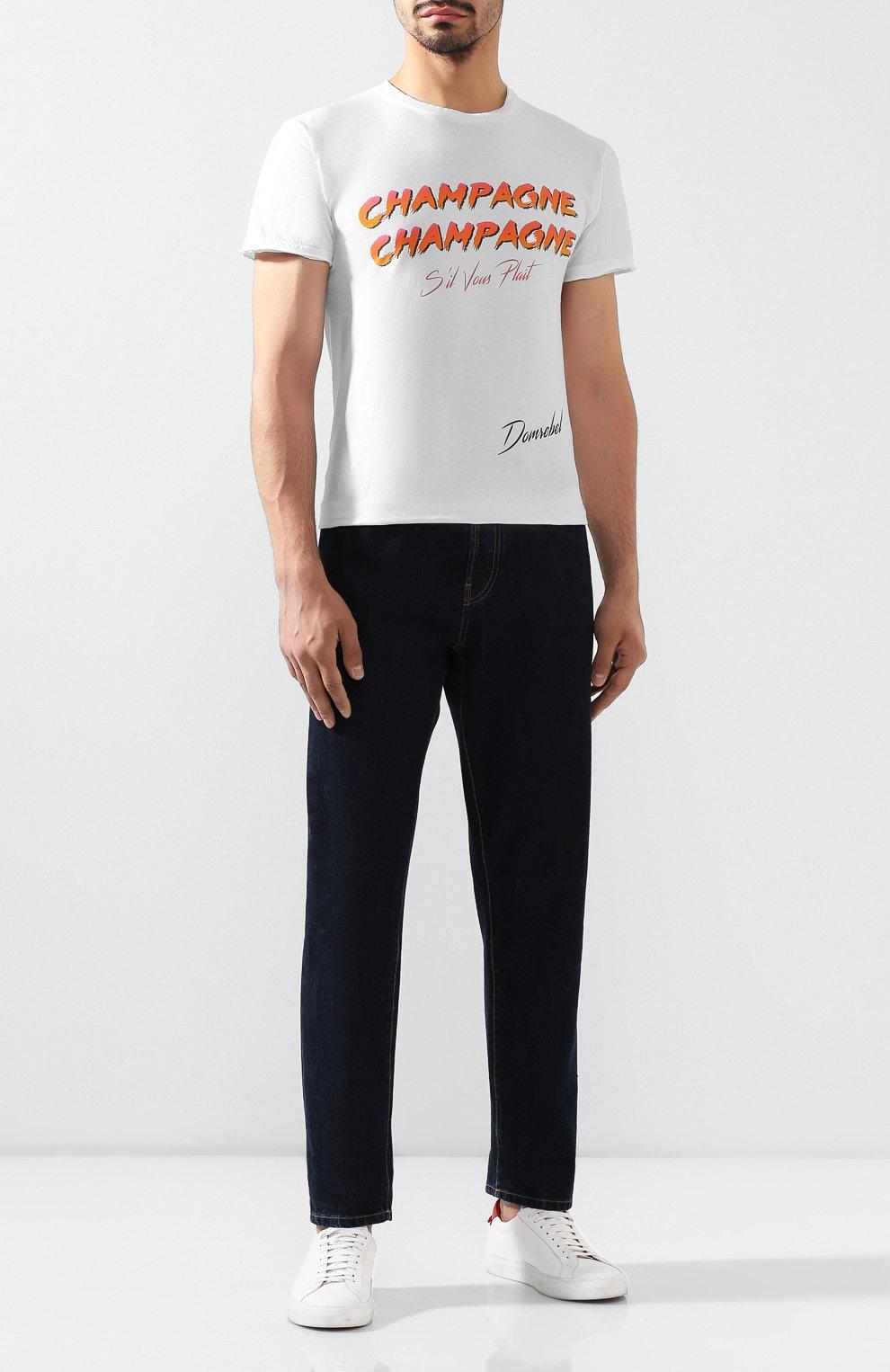 Мужская хлопковая футболка DOM REBEL белого цвета, арт. CHAMPAGNE/T-SHIRT   Фото 2