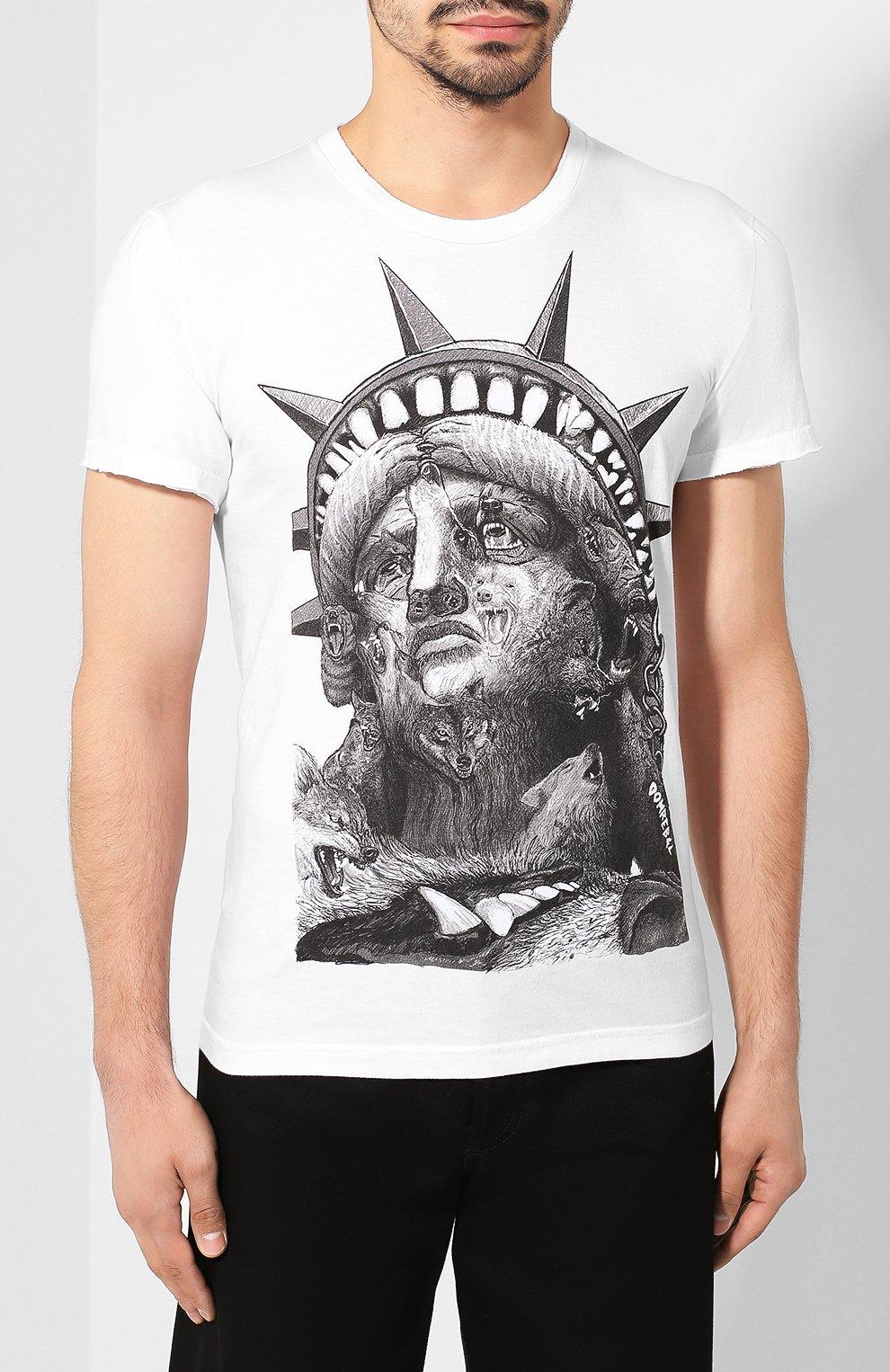 Мужская хлопковая футболка DOM REBEL белого цвета, арт. LIBERTY/T-SHIRT | Фото 3