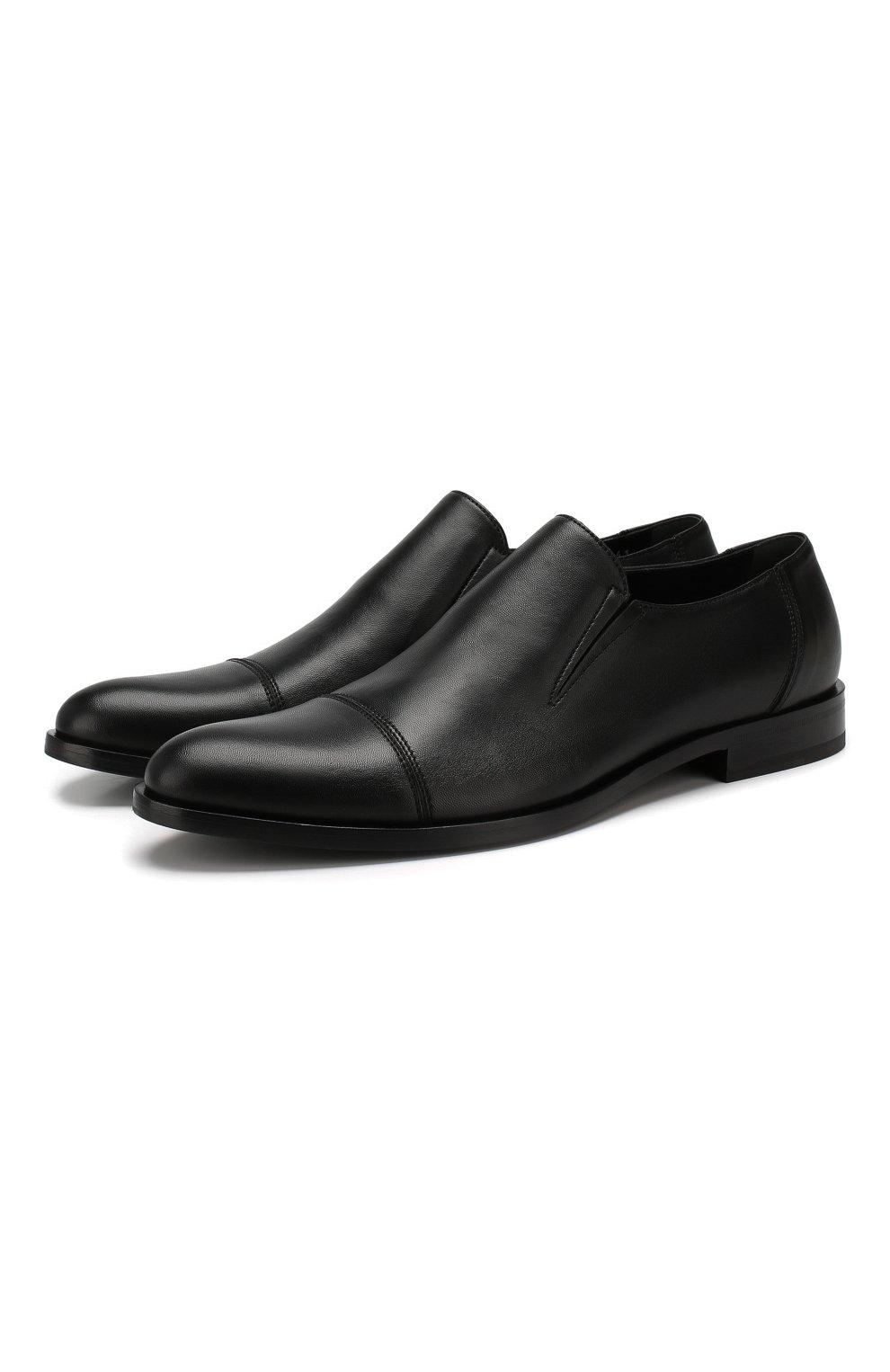 Мужские кожаные лоферы ALDO BRUE черного цвета, арт. AB510FPH-NL   Фото 1
