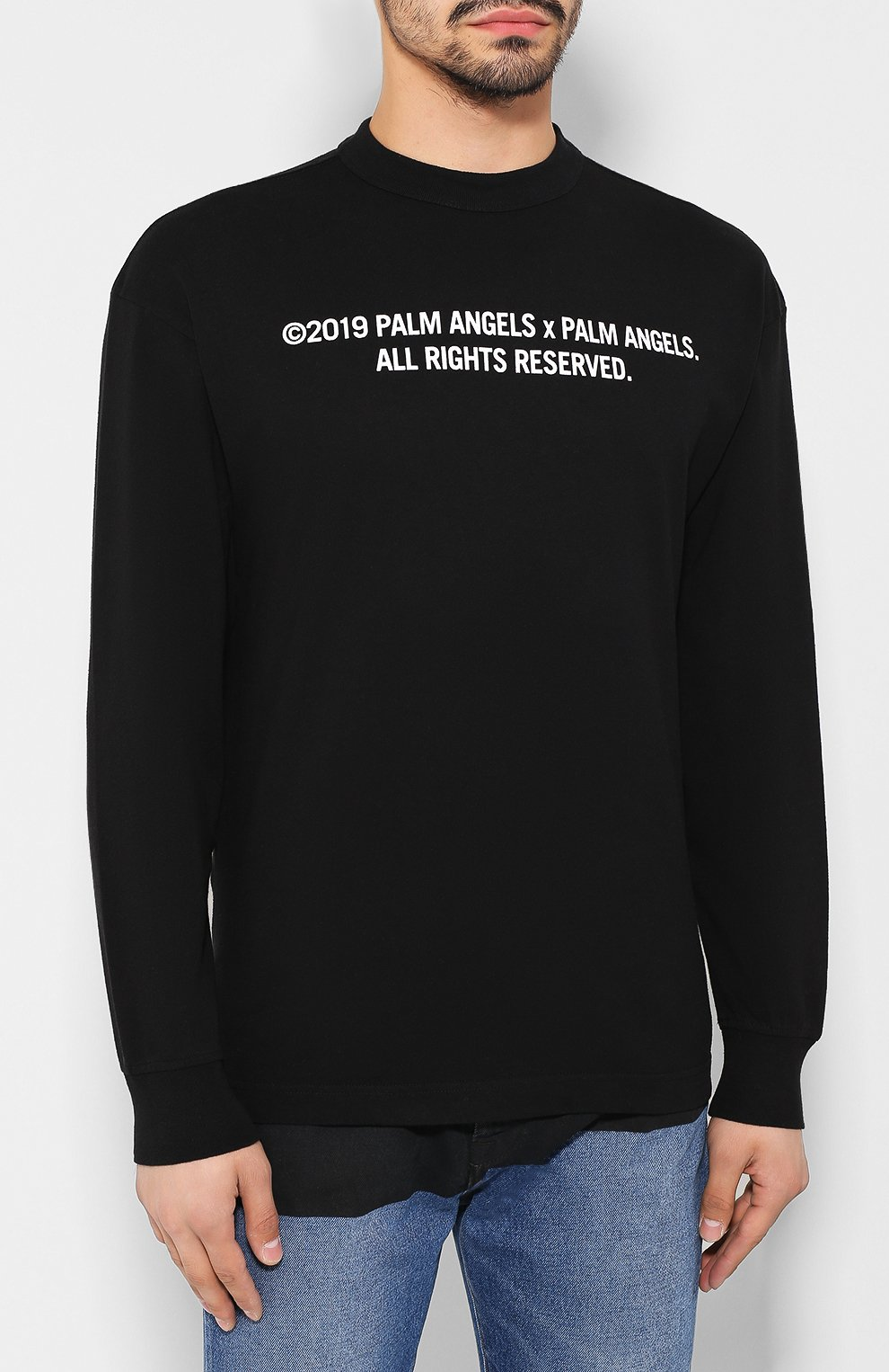 Мужская хлопковый лонгслив PALM ANGELS черного цвета, арт. PMAB016E194130301088 | Фото 3