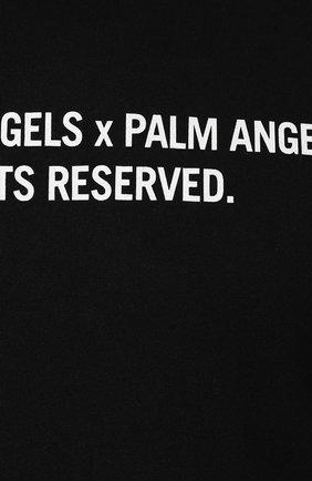 Мужская хлопковый лонгслив PALM ANGELS черного цвета, арт. PMAB016E194130301088 | Фото 5