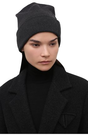 Женская кашемировая шапка BRUNELLO CUCINELLI темно-серого цвета, арт. M12163199   Фото 2