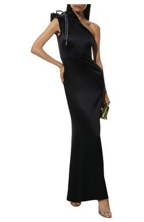 Женское шелковое платье GIORGIO ARMANI темно-синего цвета, арт. 9WHVR018/T01AL | Фото 2 (Статус проверки: Проверено; Материал внешний: Шелк; Рукава: Без рукавов)