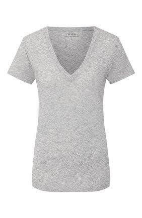 Женская хлопковая футболка VINCE светло-серого цвета, арт. VR59283148 | Фото 1