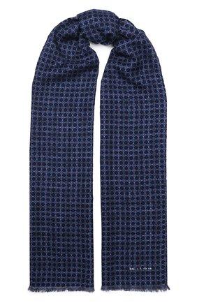 Мужской шарф из смеси шерсти и шелка KITON темно-синего цвета, арт. USCIACX02S54 | Фото 1