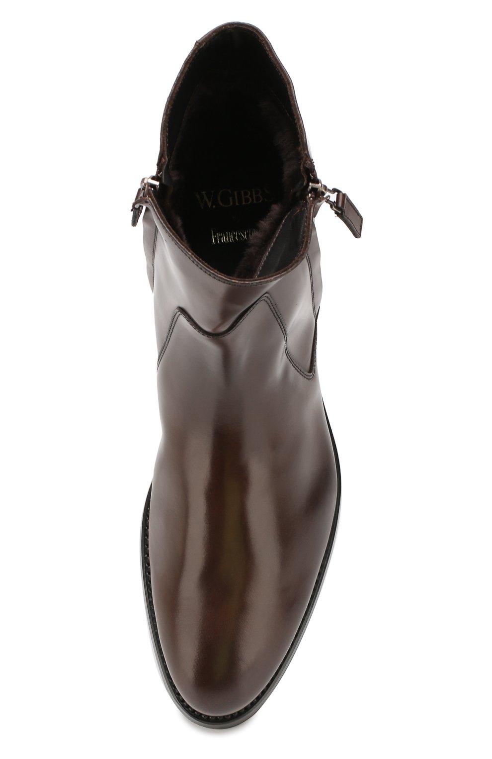 Мужские кожаные сапоги W.GIBBS темно-коричневого цвета, арт. 8378133/0238 | Фото 5