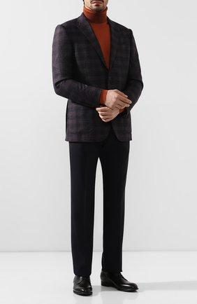 Мужские шерстяные брюки GIORGIO ARMANI темно-синего цвета, арт. 8WGPP001/T0075   Фото 2