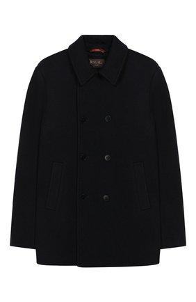 Детское двубортное пальто из кашемира и шерсти LORO PIANA темно-синего цвета, арт. FAI7734 | Фото 1