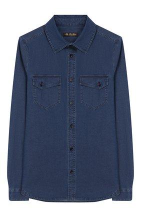 Детская хлопковая рубашка LORO PIANA синего цвета, арт. FAI7178 | Фото 1