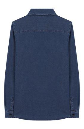 Детская хлопковая рубашка LORO PIANA синего цвета, арт. FAI7178 | Фото 2