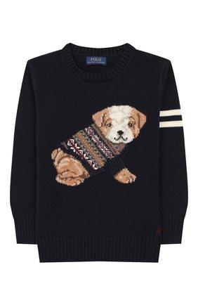 Детский пуловер из хлопка и шерсти POLO RALPH LAUREN темно-синего цвета, арт. 322749893 | Фото 1
