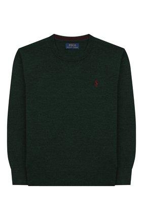 Детский шерстяной пуловер POLO RALPH LAUREN темно-зеленого цвета, арт. 322749887 | Фото 1
