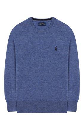 Детский шерстяной пуловер POLO RALPH LAUREN голубого цвета, арт. 321749887 | Фото 1