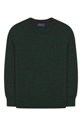 Детский шерстяной пуловер POLO RALPH LAUREN темно-зеленого цвета, арт. 321749887 | Фото 1