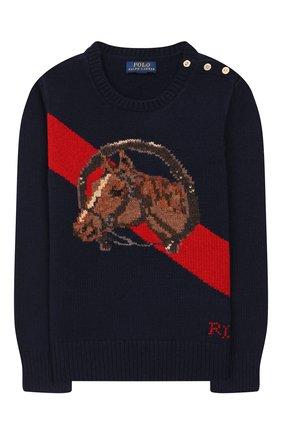 Детский пуловер из шерсти и хлопка POLO RALPH LAUREN темно-синего цвета, арт. 313754993 | Фото 1