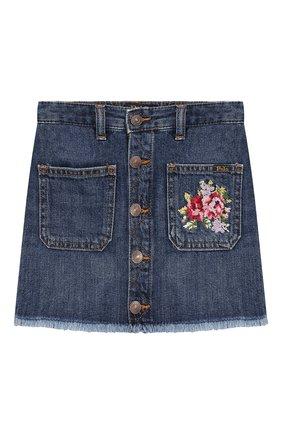 Детская джинсовая юбка POLO RALPH LAUREN синего цвета, арт. 313749603 | Фото 1