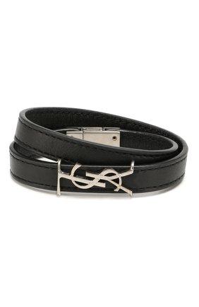 Женский кожаный браслет SAINT LAURENT черного цвета, арт. 536073/B000E | Фото 1
