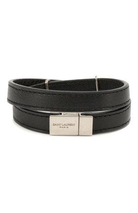 Женский кожаный браслет SAINT LAURENT черного цвета, арт. 536073/B000E | Фото 2