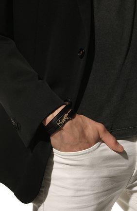 Женский кожаный браслет SAINT LAURENT черного цвета, арт. 536073/B000J | Фото 2