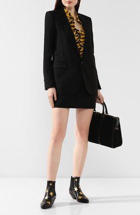 Женские кожаные ботинки west SAINT LAURENT черного цвета, арт. 579200/0ZZ10 | Фото 2